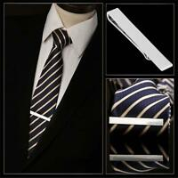 Men Stainless Steel Tone Simple Necktie Tie Clasp Clip Clamp Pin Gifts Silver GV
