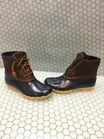 Sperry Top-Sider SALTWATER Brown Leather/Navy Rubber Rain Boots Women's Size 6