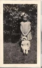 Darling Flapper Era Style Hair Bow Girl Kid w/Doll In Wagon Vintage 1920s Photo