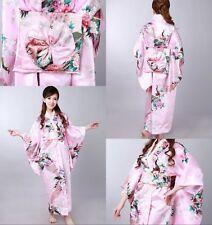 Hot New Vintage Japanese Kimono Costume Geisha Dress Obi Gown Pink Robe