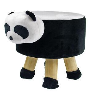 Panda Plush Kids Chair Round Stool Stuffed Animal Pouffe Black Cushioned Seat