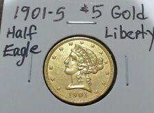 1901 S GOLD US $5 DOLLAR LIBERTY HEAD HALF EAGLE SAN FRANCISCO MINT COIN