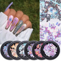 Holographic Laser Glitter Flakes Butterfly Nail Sequins 3D Nail Decoration Art