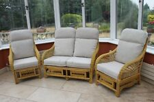 Portofino Cane Conservatory Furniture 3 Piece Suite - 2 Chairs and a Sofa- Palm