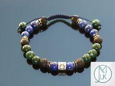 Taurus Lapis Moss Agate Birthstone Bracelet 7-8'' Macrame Healing Stone Chakra