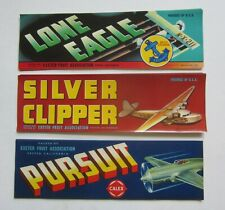 Wholesale Lot of 75 Old 1930's-40's - Airplane - Aviation - Grape Crate Labels