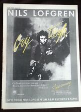 NILS LOFGREN Cry Tough yellow ink 1976 UK Poster size Press ADVERT 16x12 inches