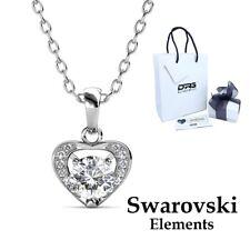 Collana Donna Oro Bianco Cristallo SWAROVSKI Elements Cuore Confezione Regalo