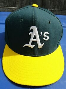 Oakland A's New Era 5950 Size 7 1/8 100% Wool Cap, Slightly Used