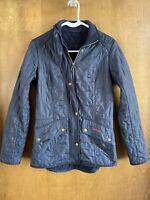 Barbour Calvary Polarquilt Jacket Navy Coat USA Size 6 UK 10