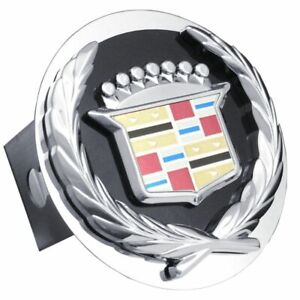 """Cadillac Black and Chrome Stainless Steel 2"""" Trailer Tow Hitch Cover"""