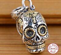 Skull Pendant Solid Sterling Silver Skeleton For Men Women Biker Gift