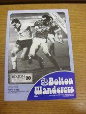 25/02/1984 Bolton Wanderers V PORT VALE (Team modifiche & Croce Parola completata).