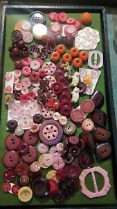 Vintage plastic button lot pink pigs