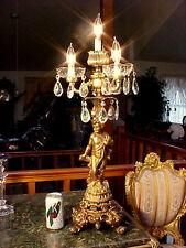 "4Lt30""T Gilt Bronze Crystal Cherub Lamp Candelabra Chandelier Cut Glass Electric"