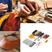 13 Leather Craft Tools Kit DIY Sewing Stitching Thread Punch Awl Saddle Groover