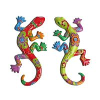 Wall-mountable Bright Lizard / Gecko Garden Ornament