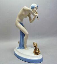 (G6374) Royal Dux Akt Figur, Schlangenbeschwörerin, Mod.-Nr.702, H=24cm