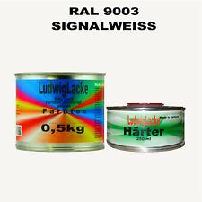 Signalweiß Signalweiss RAL 9003 MATT Acryllack 0,75 kg mit Härter Frei Haus