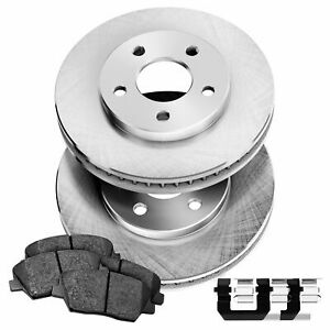 Fit 2013 Mini Cooper Front PowerSport Blank Brake Rotors + Ceramic Brake Pads