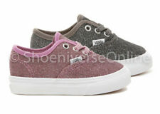 Vans Toddler Lurex Glitter Authentic Shoes Kids Plimsolls Pink Black White