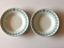 "Vintage Art Deco Set of 2 Serving Bowls Mayer China Turquoise Teal Globe ""K"""