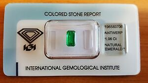 IGI Certified Zambian Natural Emerald 1.06 carats Transparent Stunning Stone