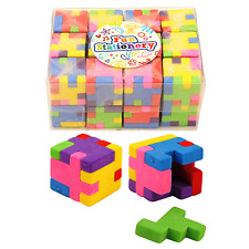 24 Puzzle Cube Eraser Bulk Buy Box Kids Party Bag Fillers PTA Event Toy Prizes