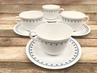 Corelle Blue Garland Snowflake - 4 round handle cups and saucers