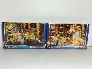 "2 Puzzlebug 500 Piece Jigsaw Puzzles  ""Carousel Horse"" & ""Fun Fair Carousel"" New"
