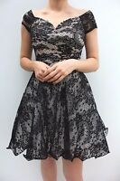 Chi Chi London Black Lace V Neck Tulle Skater Party Wedding Dress Size 8 36 US 4