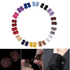 Mens Casual Plain Silk Cotton Knot Wedding Party Gift Shirt Cuff links Cufflinks