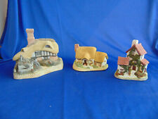 3 David Winter Cottages Rose Cottage Ivy Cottage Home Guard ceramic England art