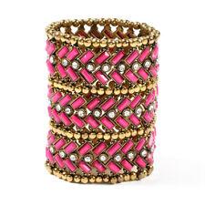 Amrita Singh  Gold Fuchsia Thompson Sheana Marie Stretch Bracelet BRC 1204 NWT
