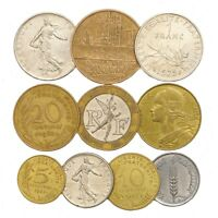 10 FRENCH COINS FRANCE FRANCS CENTIMES COLLECTIBLE OLD COINS FROM EUROPE