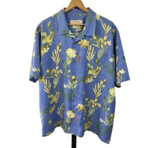 Tommy Bahama Mens Silk Blend Hawaiian Camp Shirt Size 2XL Custom Fit Blue Floral