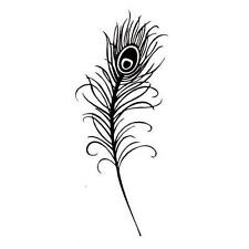Peacock Feather lg. Unmounted rubber stamp, bird, wedding, fantasy, bridal #8