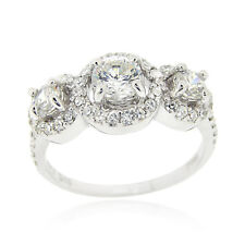925 Silver CZ 3-Stone Bridal Engagement Ring Size 9