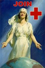 VINTAGE RED CROSS NURSE WORLD GLOBE JOIN RECRUITING POSTER CANVAS ART PRINT- BIG