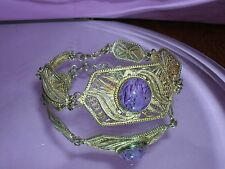 Antique Spun Sterling Silver Filigree Bracelet ~CHAROITE GEMSTONE ~ 925