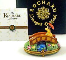 New Rochard French Limoges Trinket Box Japanese Bridge In Garden Lady W Umbrella