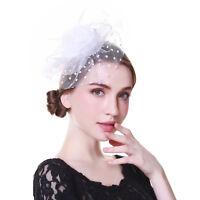 Flower Fascinator Feather Headband Clip Hat Beaded Wedding Races Prom Hair Ascot