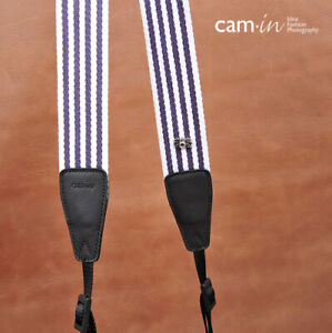 Purple and White Striped Adjustable Cotton DSLR Camera Strap by Cam-in