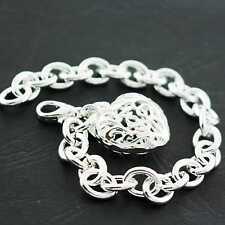 S/F Solid Link Filigree Heart Padlock Bangle Bracelet Real 925 Sterling Silver
