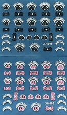 Nail Art 3D Decal Stickers Hearts Tip & Bows Pink/White or Black/White XH605