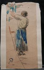 Dessin Original Aquarelle PAUL COUVREUR FEMME AU JARDIN 1930 PC153