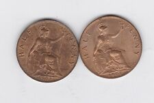 More details for two 1901 victoria & 1902 edward vii half pennies near mint or better condition