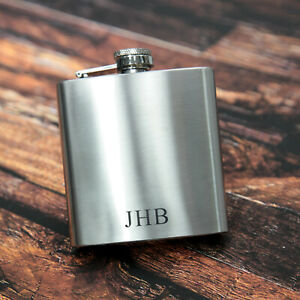 Personalised Hip Flask -  Monogram & Initials - Gift Birthday Xams Wedding