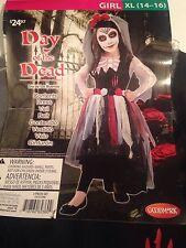 Goodmark Day of The Dead Girls Fancy Dress Halloween Costume Sz XL - DRESS Only