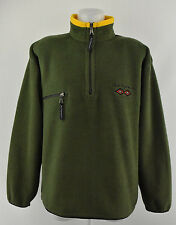 Mens Peak Performance Fleece Jacket Green Half Zip Polo Neck Coat Size M